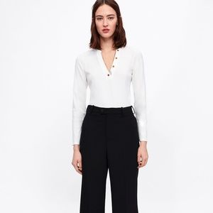 Zara Ribbed Top with Button Details Size Small